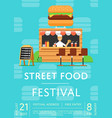 street food festival invitation in flat style vector image