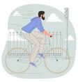 stylish guy on bicycle vector image