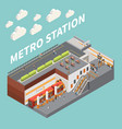 subway metro station isometric composition vector image vector image