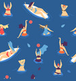 summer time seamless pattern swim woman concept vector image vector image