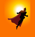 superhero flying at sunrise vector image vector image
