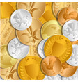 the background of the coins the treasure of gold vector image vector image