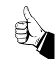 thumbs up hand black and white vector image