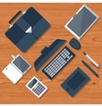 Top view of workplace with laptop and devices vector image