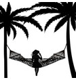 tropical scene with palms and woman relaxing in a vector image vector image