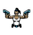 woman mascot aiming guns vector image