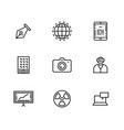 9 line icons set for web and user interface vector image vector image