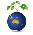A plant above the planet earth vector image vector image