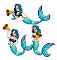 a set of animated mermaids speaking into a vector image