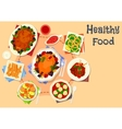 Baked meat with snack dishes icon for food design vector image vector image