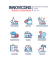 budget categories - line design style icons set vector image