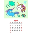 Calendar 2017 In cartoon 80s-90s comic style vector image vector image