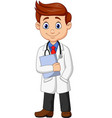 cartoon male doctor holding a clipboard vector image