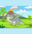 cartoon mother and badinosaur in jungle vector image vector image