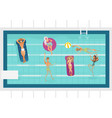 cartoon people in swimming pool blue vector image