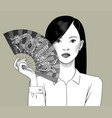 chinese girl holding a fan with a dragon in her vector image vector image
