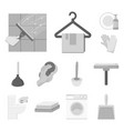 cleaning and maid monochrome icons in set vector image vector image