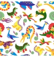 Cute baby dinosaurus pattern Dinosaur cartoon vector image vector image