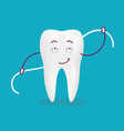 cute cartoon tooth with dental floss isolated on a vector image