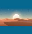 desert cover with oasis and palm trees nature vector image