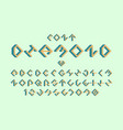diamond volume font alphabet vector image