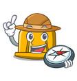 explorer construction helmet mascot cartoon vector image