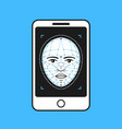 face id in smartphone flat line vector image vector image