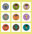 flat icons set of tornado concept on colorful vector image vector image