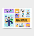 flat insurance service infographic template vector image