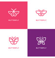 four mono line butterfly logo vector image vector image