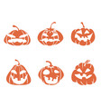 funny cartoon halloween pumpkin icons vector image