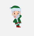 green santa claus sticks out his tongue in vector image vector image