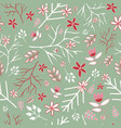 green winter vintage florals seamless pattern vector image