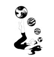 hand drawn girl with planets vector image vector image