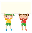 happy boys holding white board vector image vector image