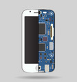 internal phone device - circuit board a vector image