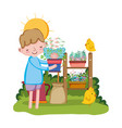 little boy lifting houseplant with chick vector image