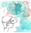 Man in device for virtual reality vector image