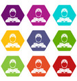 military paratrooper icon set color hexahedron vector image vector image