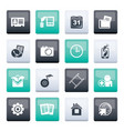 mobile phone menu icons over color background vector image vector image