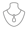 necklace on manneqiun thin line icon jewelry and vector image