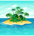 ocean island cartoon palm trees sea uninhabited vector image