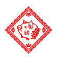 pig lunar year square ornament vector image vector image