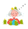 Princess Crying and Many Prince Frogs Colored vector image vector image
