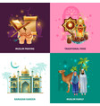 ramadan traditions concept 4 icons square vector image vector image