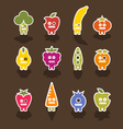 robot fruit icons vector image vector image