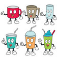 set of beverage cup vector image vector image
