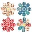 Set of four quilt flower vector image