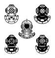 set vintage diver helmets design element vector image