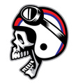 skull wearing old style motorcycle helmet vector image